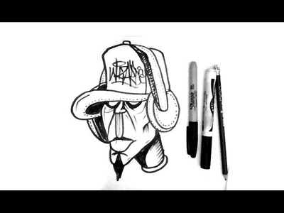How to Draw a Graffiti Character with his headphones  Hearing Music - Tutorial