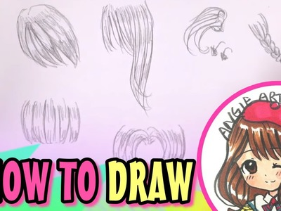 How to draw manga girl hair easy - simple, slow and draw in real time FOR beginners!