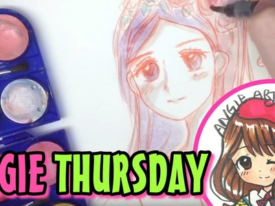 How to draw manga girl with water colour - Angie Thursday EP2