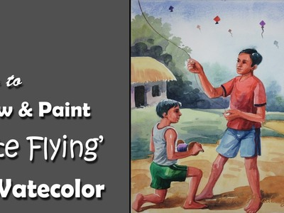 How to Draw & Paint on the subject 'Kite Flying' in Watercolor