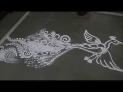 How to draw Peacock Rangoli Flying peacockrangoli by Satish Thavi