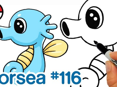 How to Draw Pokemon Horsea Cute step by step Easy