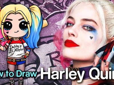 How to Draw Suicide Squad Harley Quinn step by step Chibi
