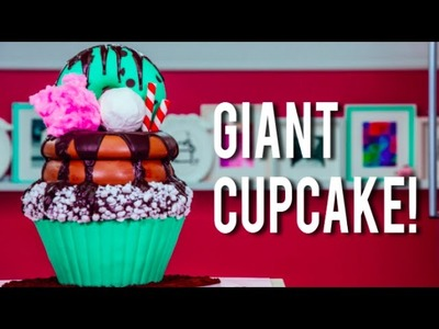 How To Make A GIANT CUPCAKE CAKE! Chocolate Mint, Buttercream, and Chocolate Sauce For My BIRTHDAY!