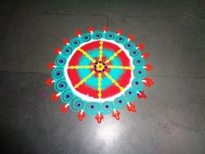 How to make beautiful circle rangoli design - created by latest rangoli