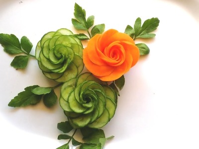How To Make Cucumber Rose - Cucumber Carving & Cutting Techniques