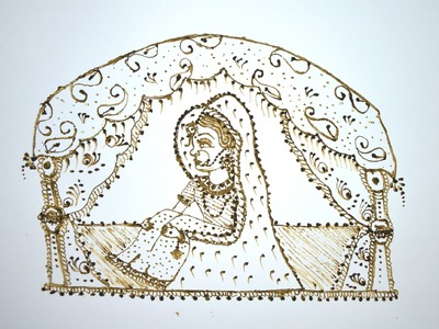How To Make. Draw Dulhan Or Bride Seated  In Doli. Vidai Ritual In Henna. Mehndi
