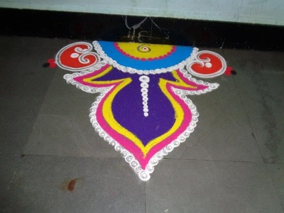 How to make free hand rangoli design - created by latest rangoli