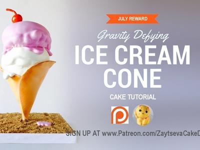How to make gravity defying Icecream Cone Cake. Tutorial trailer