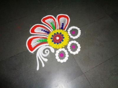 How to make nice flower rangoli design created by latest rangoli