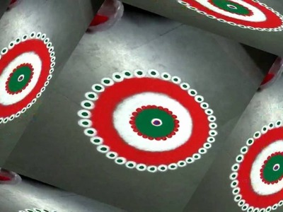 How to make nice indian flag coiour in rangoli design  created by latest rangoli