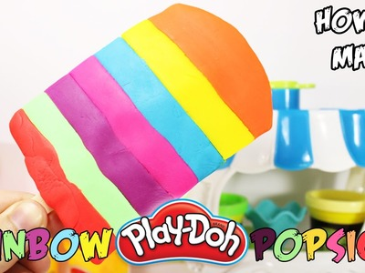 How to make Play Doh Rainbow Ice Cream Popsicle and Learn Colors