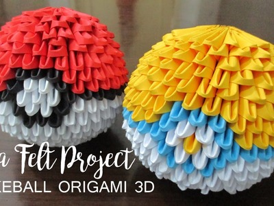 How to Make Poke Ball Origami 3D -fatafeltproject