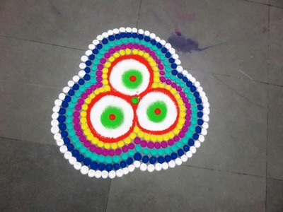 How to make rangoli powder big dots rangoli design  created by  latest rangoli