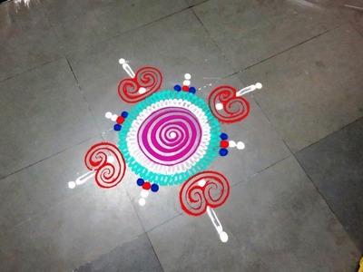 How to make simple rangoli design   created by latest rangoli