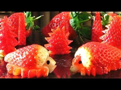 How To Make Strawberries Party Decorations | Strawberry Art | Fruit Carving Garnish