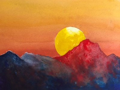 How to paint a Dramatic Sunset with Watercolor easy tutorial