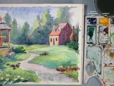 How to Paint A House Landscape with Watercolor | Episode-4