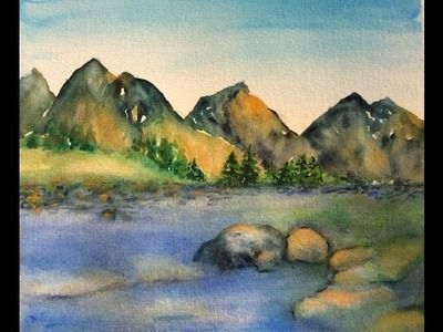 How to paint Rocky Mountain landscape with watercolor, step by step tutorial