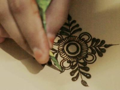How To Practice Basic Simple Mehndi Design:Circular with Leaf Mehendi Art