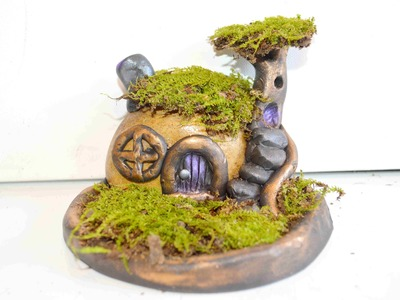 How To Sculpt A Stone Fairy House and Moss Garden With Polymer Clay