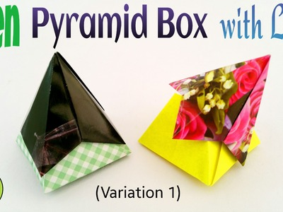 """Origami tutorial to make a paper """"Open Pyramid Box with Lid"""""""