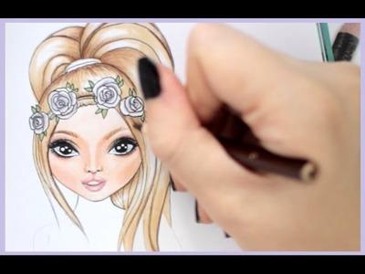 Topmodel Malbuch | How to draw flowercrown | Rose malen | Copics || Foxy Draws