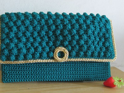 Crochet || Tutorial Merajut Dompet Pesta - Bobble Stitch