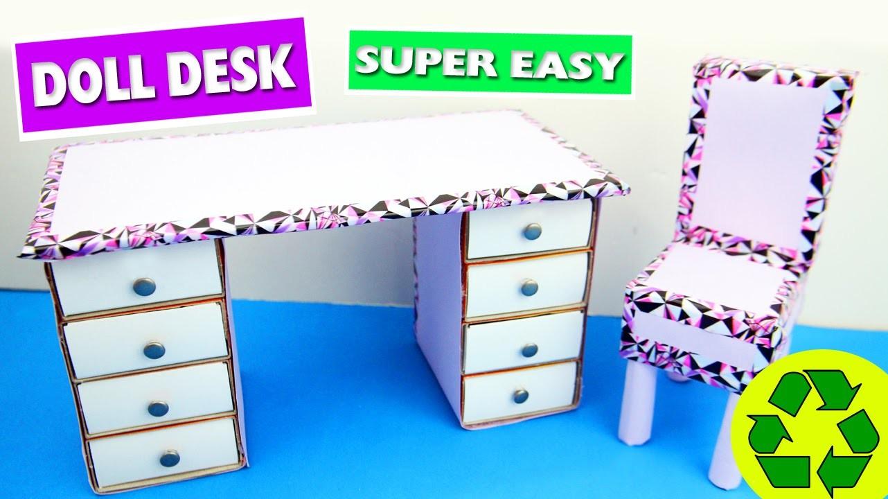 DIY | Cardboard Doll Desk - Easy Doll Crafts - Simplekidscrafts