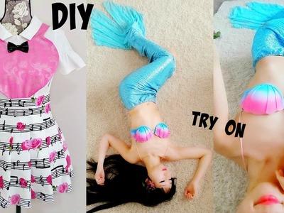 DIY Music Note Pleated Heart Shaped Dress+Mermaid Cosplay
