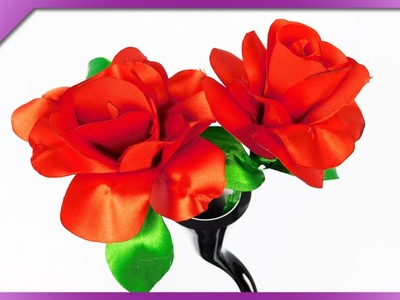DIY Ribbon rose, for Valentine's Day, Mother's Day (ENG Subtitles) - Speed up #235