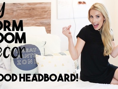 Dorm Room Decorating | Dorm DIY Wood Headboard | Small Apartment Decorating Tips!