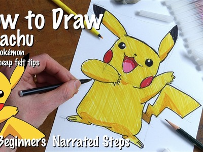 How to Draw Pikachu from Pokémon with cheap felt tip pens from Poundland a test!