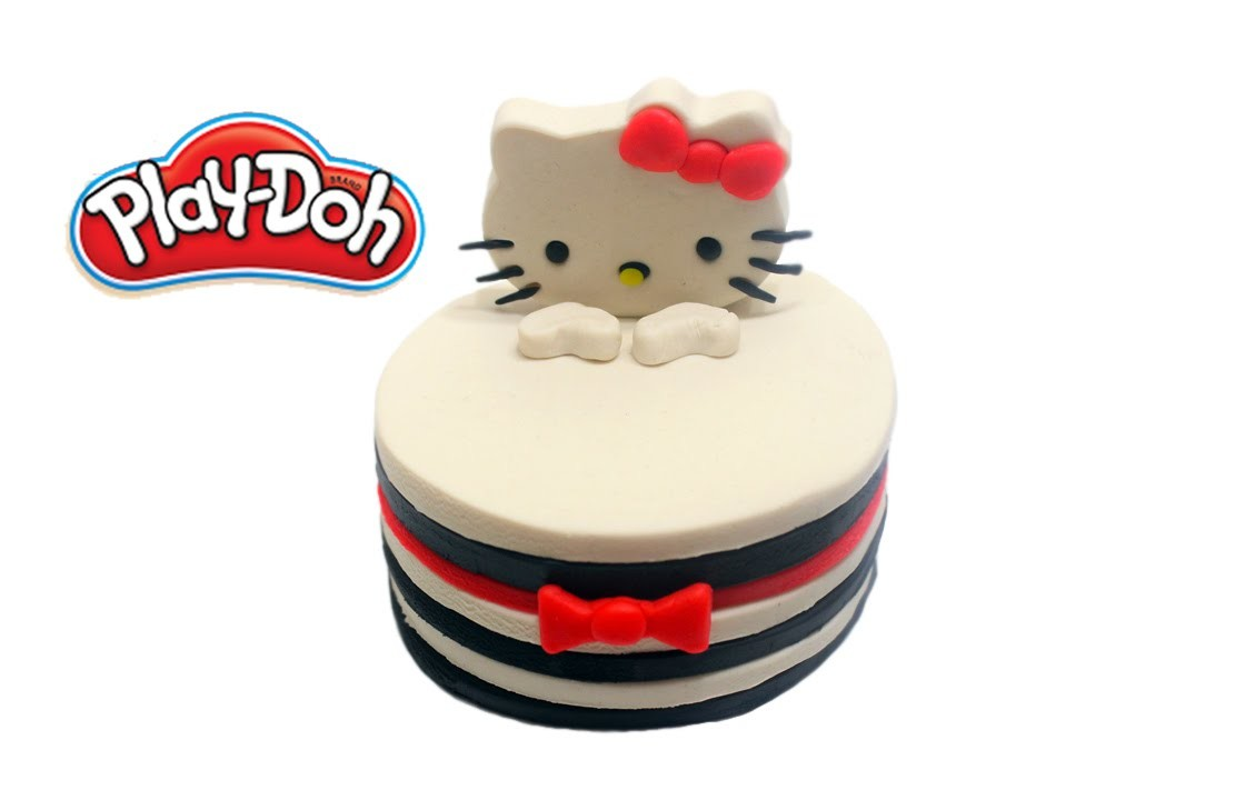 Play-Doh Learn How to Make Giant Hello Kitty Layered Cake DIY
