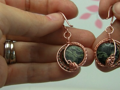 Begginer.Intermediate Wire Wrapped Gemstone Bead Copper Earrings