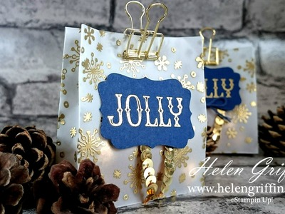 Day 2 - Christmas In July 2016 - Stampin' Up! Gold Snowflake Vellum Treat Bag Tutorial