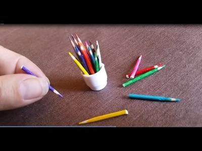 DIY lapices de colores miniatura,para casa de muñecas.miniature colored pencils for dollhouse