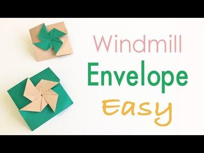 Easy☺︎ Origami Paper Windmill Blade(Pinwheel Sail) Letter Envelope - Origami Kawaii 〔#156〕