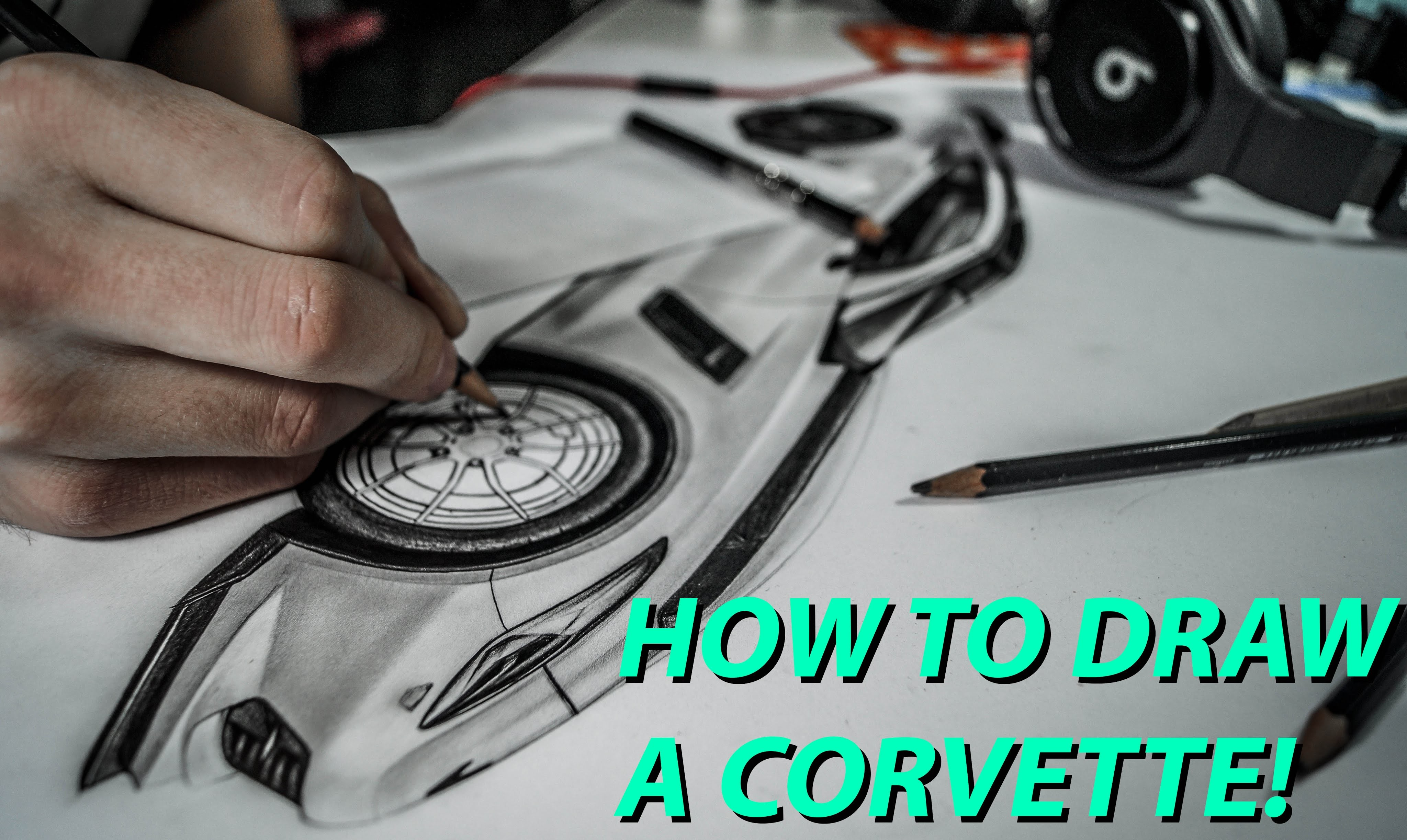 How to draw a Corvette C7, Cardrawing - Autozeichnung