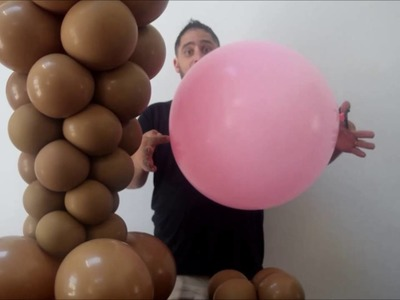How to make a ice cream balloon column decoration. No helium needed! Great for birthday
