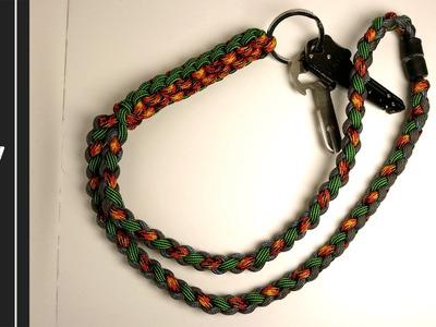 How to make a Paracord Lanyard - Crown Sinnet. Four Strand Round - [UWA ORIGINAL]