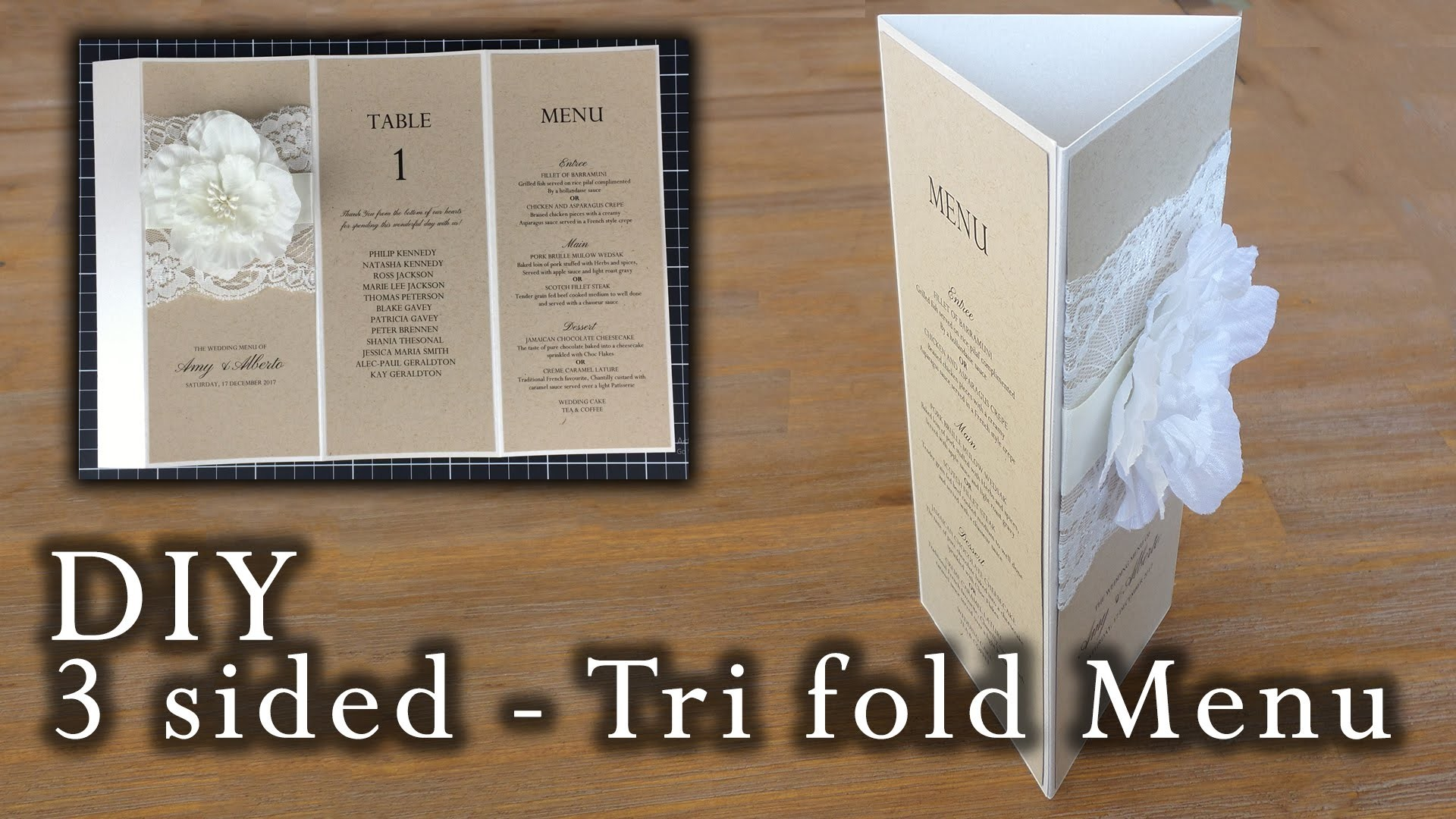 How to make a rustic 3 sided tri fold menu | wedding menu | DIY invitations