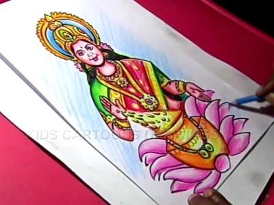 How to Make Hindu Goddess Varalakshmi Ammavari Decoration Step by Step Drawing