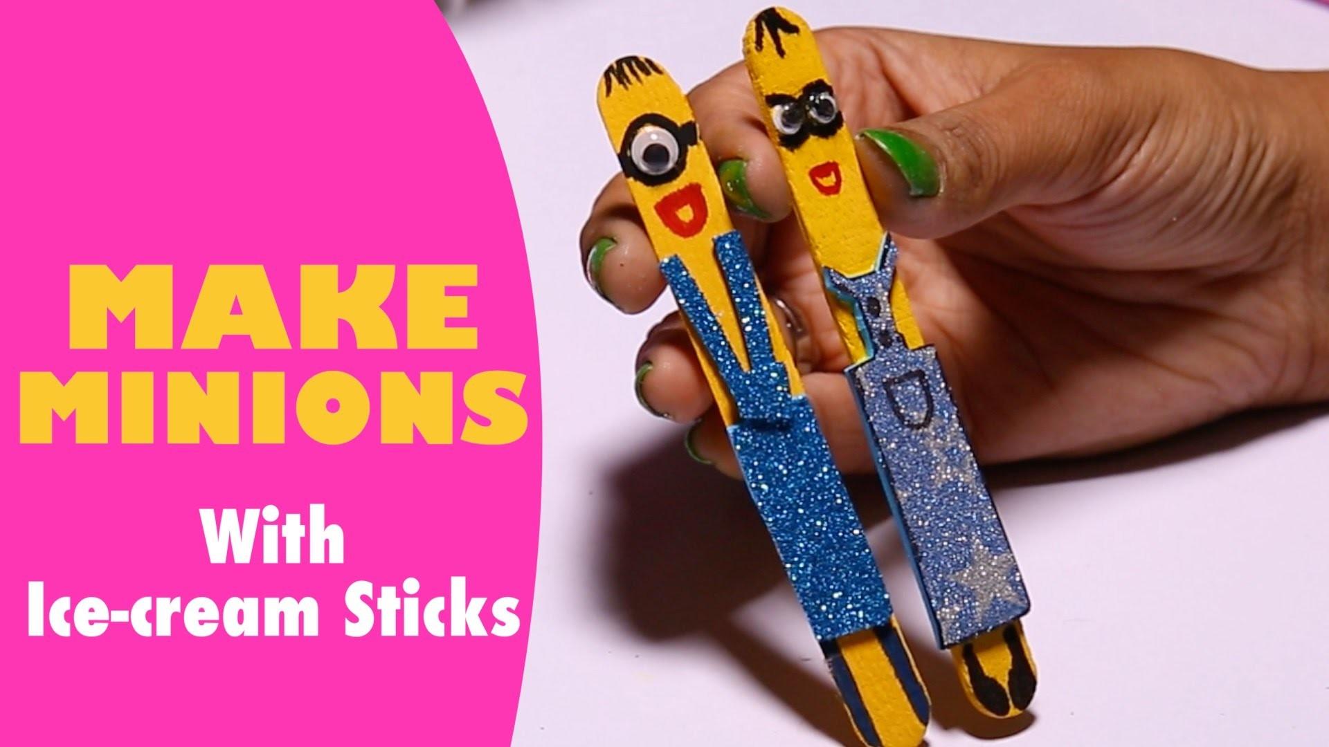 How to Make Minions with Ice cream Sticks - Super Kids
