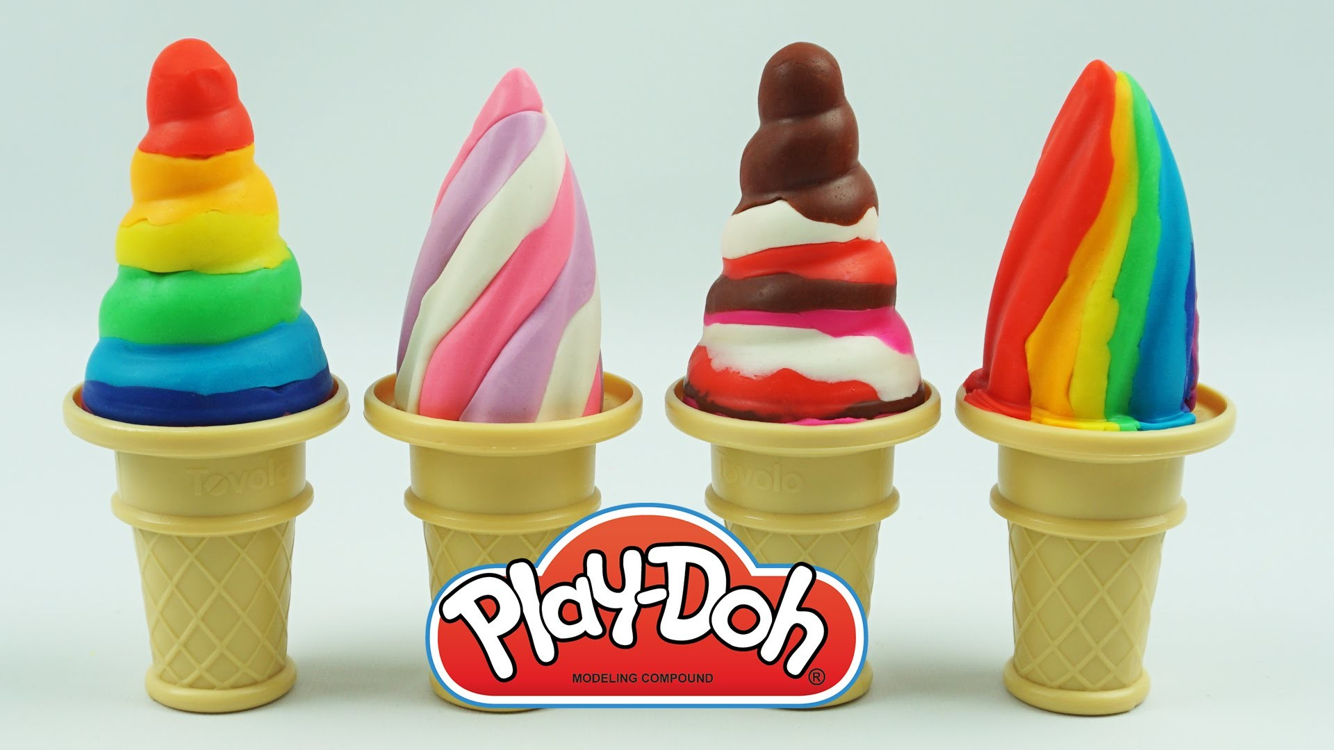 How to Make Play Doh Soft Serve Rainbow Ice Cream with Molds Fun and Creative videos for toddlers