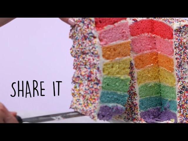 How to Make Rainbow Layer Cake | Trending Tastes | MyRecipes