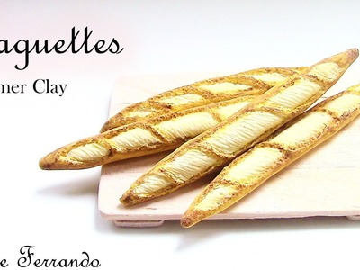 Miniature Polymer Clay FIMO Baguettes.Bread Tutorial
