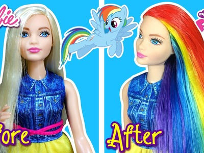 My Little Pony Rainbow Dash Hair Tutorial for Barbie Doll - Making Kids Toys