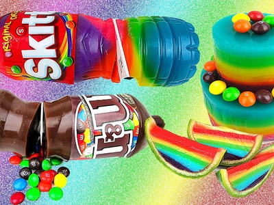 Rainbow Jello Soda Bottle, Cake & Watermelon! AWESOME Gummy Skittles M&Ms Jelly Treats