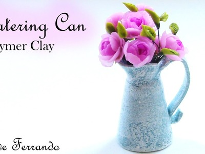 Shabby Chic Polymer Clay Watering Can Vase Tutorial